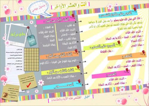 جدول العشر الاواخر من رمضان
